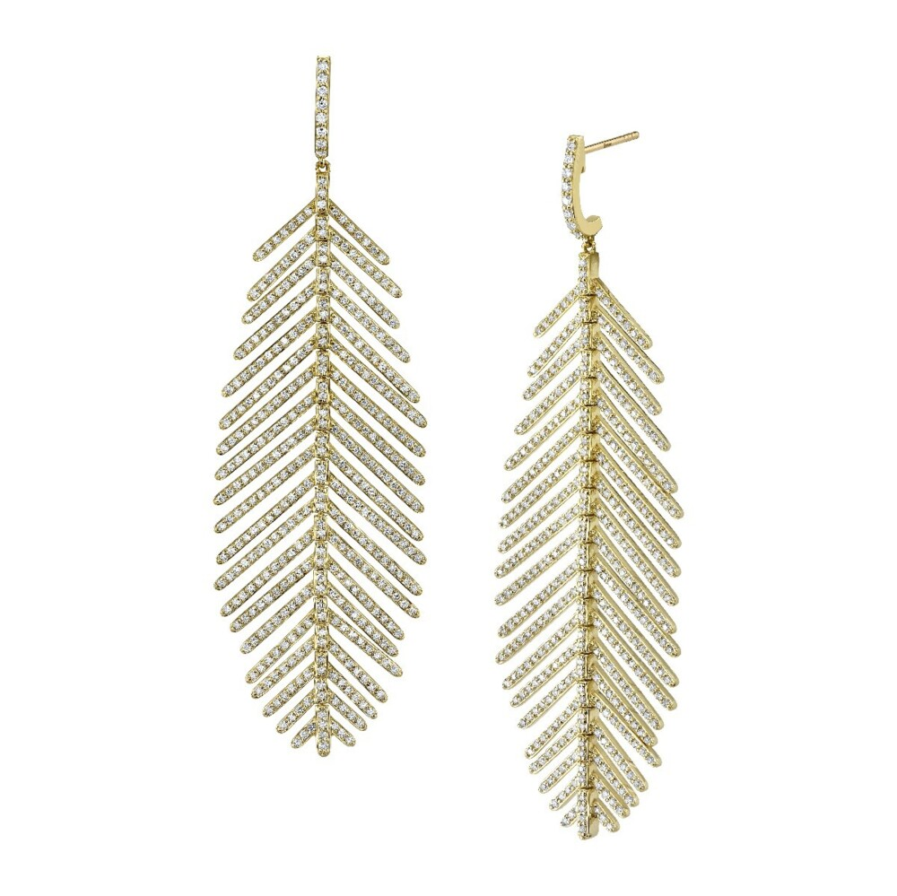 Image 2 for Pave Diamond Medium Feather Earrings