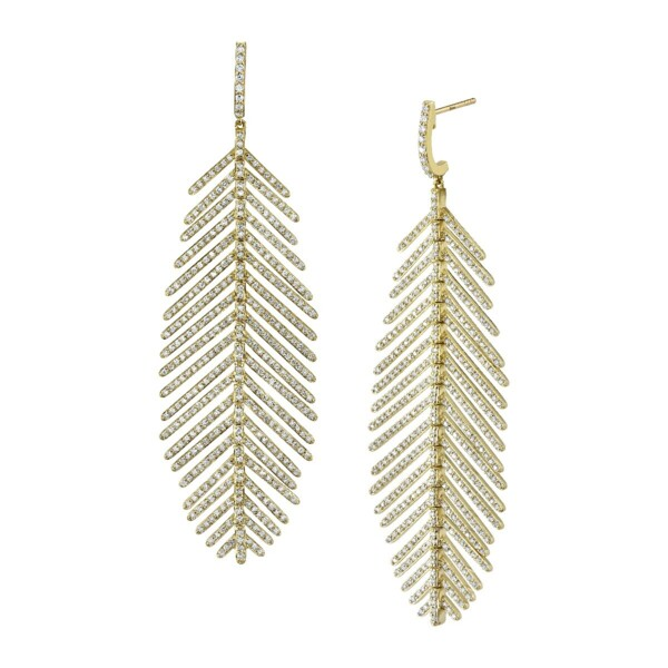 Closeup photo of Pave Diamond Medium Feather Earrings