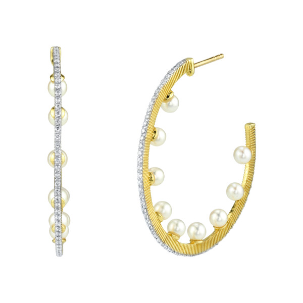 Closeup photo of Pave Diamond Hoop Earrings With Seed Pearls