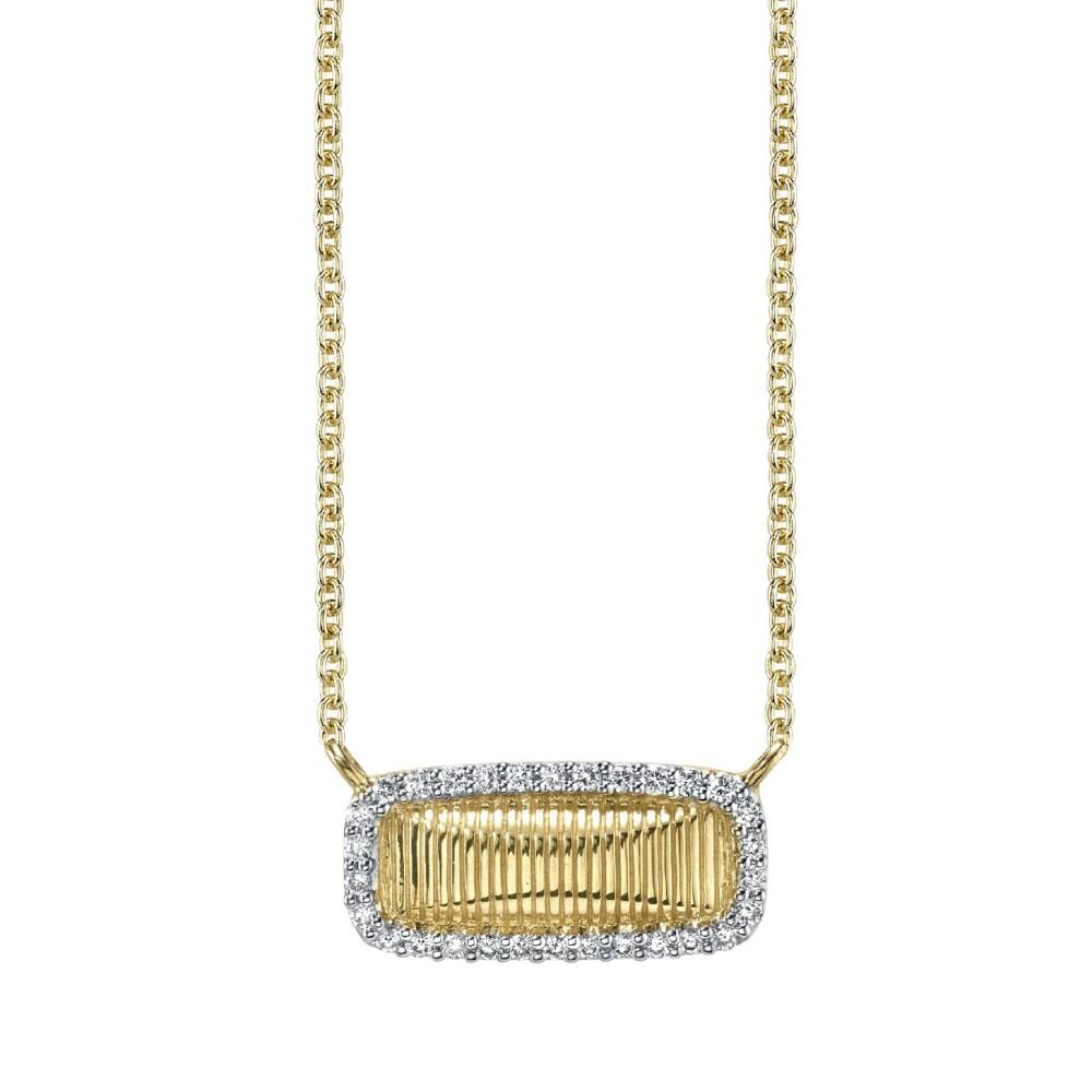 Dainty Strie Bar Pendant With Diamonds