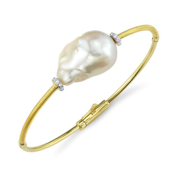 Closeup photo of Single Baroque Pearl Bangle With Diamonds