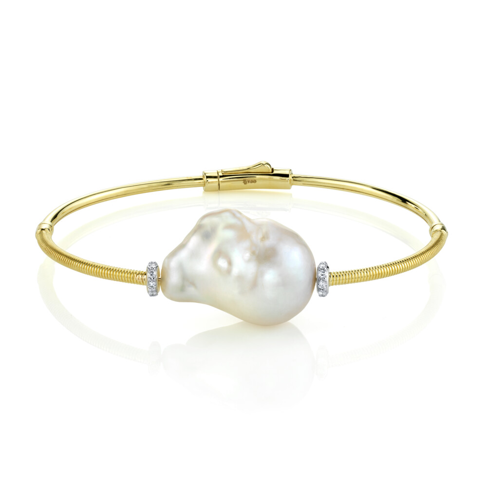 Single Baroque Pearl Bangle With Diamonds