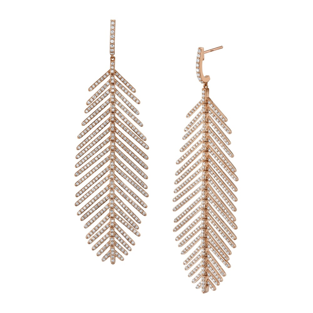 Image 2 for Pave Diamond Large Feather Earrings
