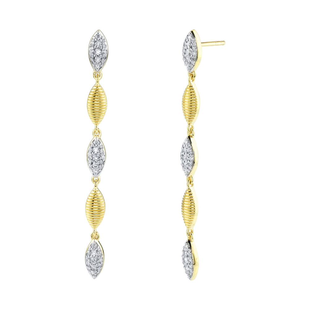 Pave Diamond And Strie Marquise Drop Earrings