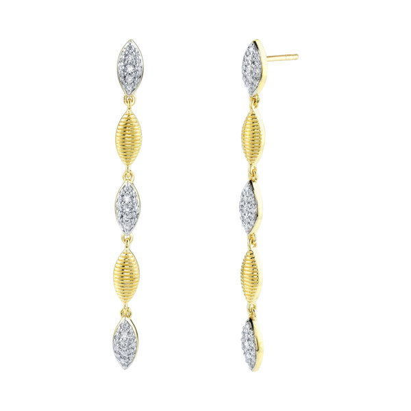 Closeup photo of Pave Diamond And Strie Marquise Drop Earrings