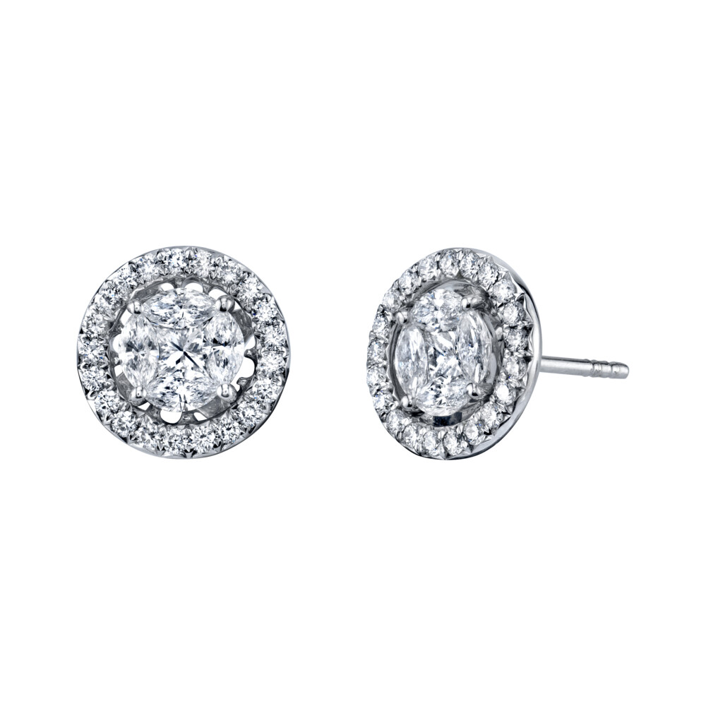 Marquis Diamond Stud Earrings With Removable Diamond  Halo Jacket