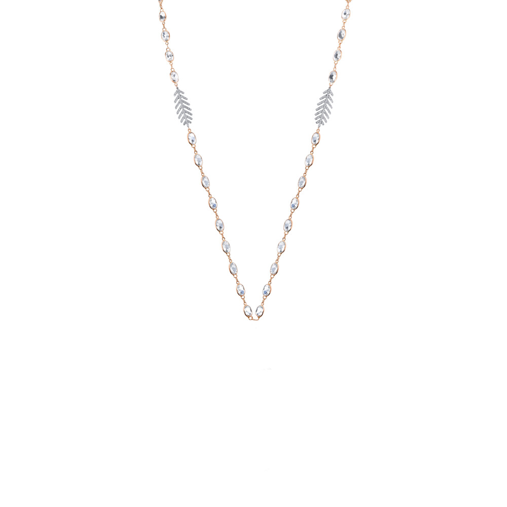 White Topaz Chain With Dainty Pave Diamond Feathers