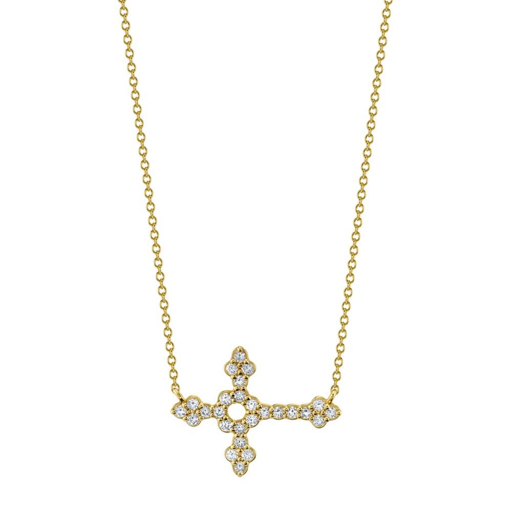 Pave Diamond Medium Horizontal Cross Pendant