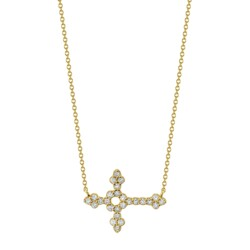 Closeup photo of Pave Diamond Medium Horizontal Cross Pendant