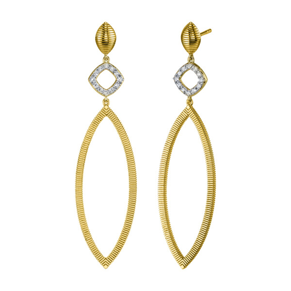Closeup photo of Diamond And Strie Large Marquise Earrings
