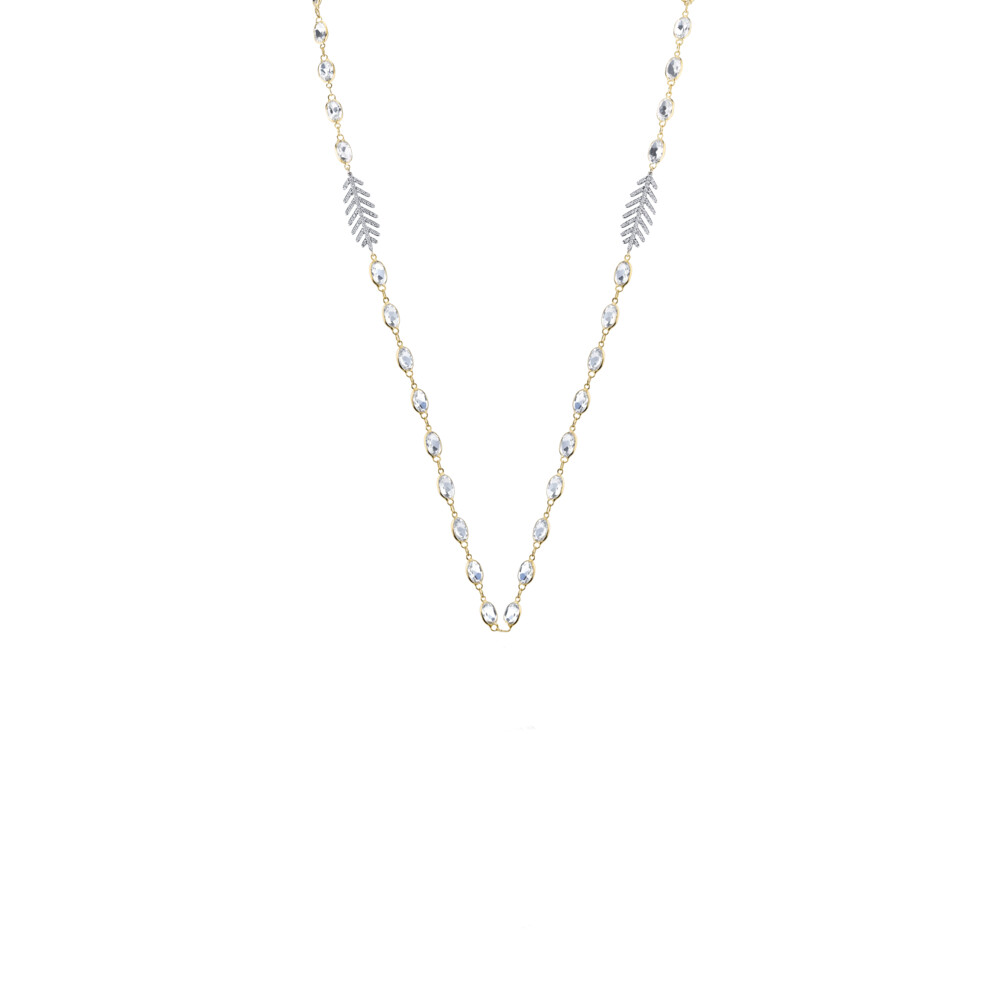 Image 2 for White Topaz Chain With Dainty Pave Diamond Feathers