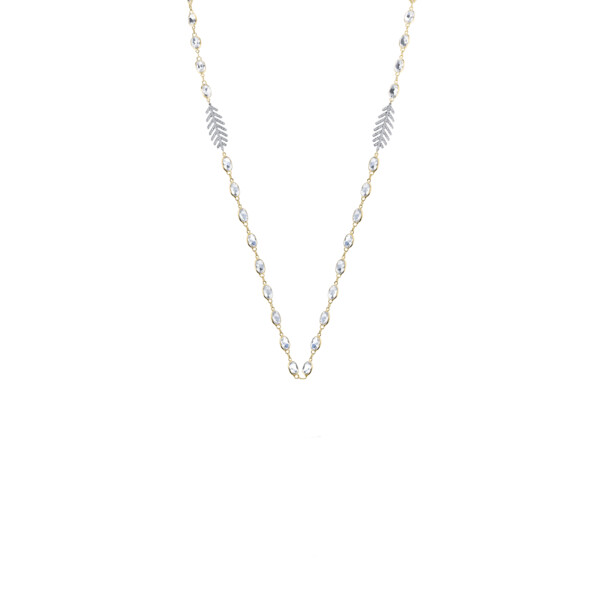 Closeup photo of White Topaz Chain With Dainty Pave Diamond Feathers