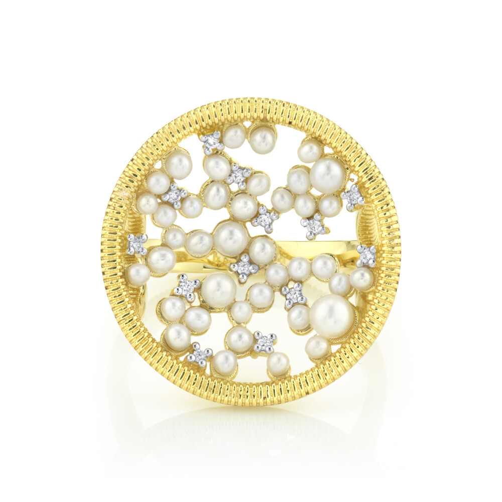 Celestial Seed Pearl And Diamond Ring