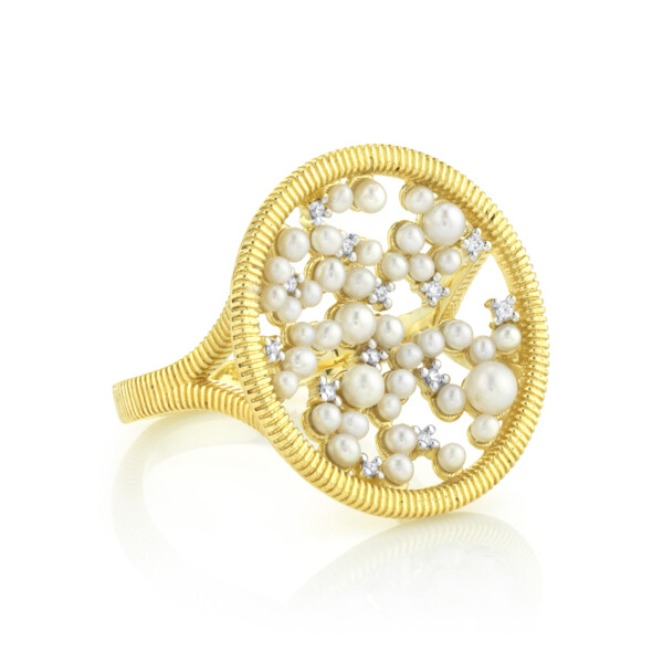 Closeup photo of Celestial Seed Pearl And Diamond Ring