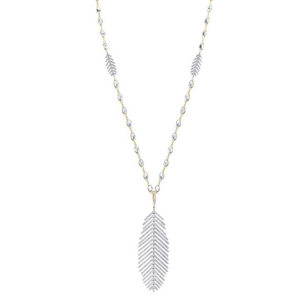 Closeup photo of Pave Diamond Large Feather Pendant