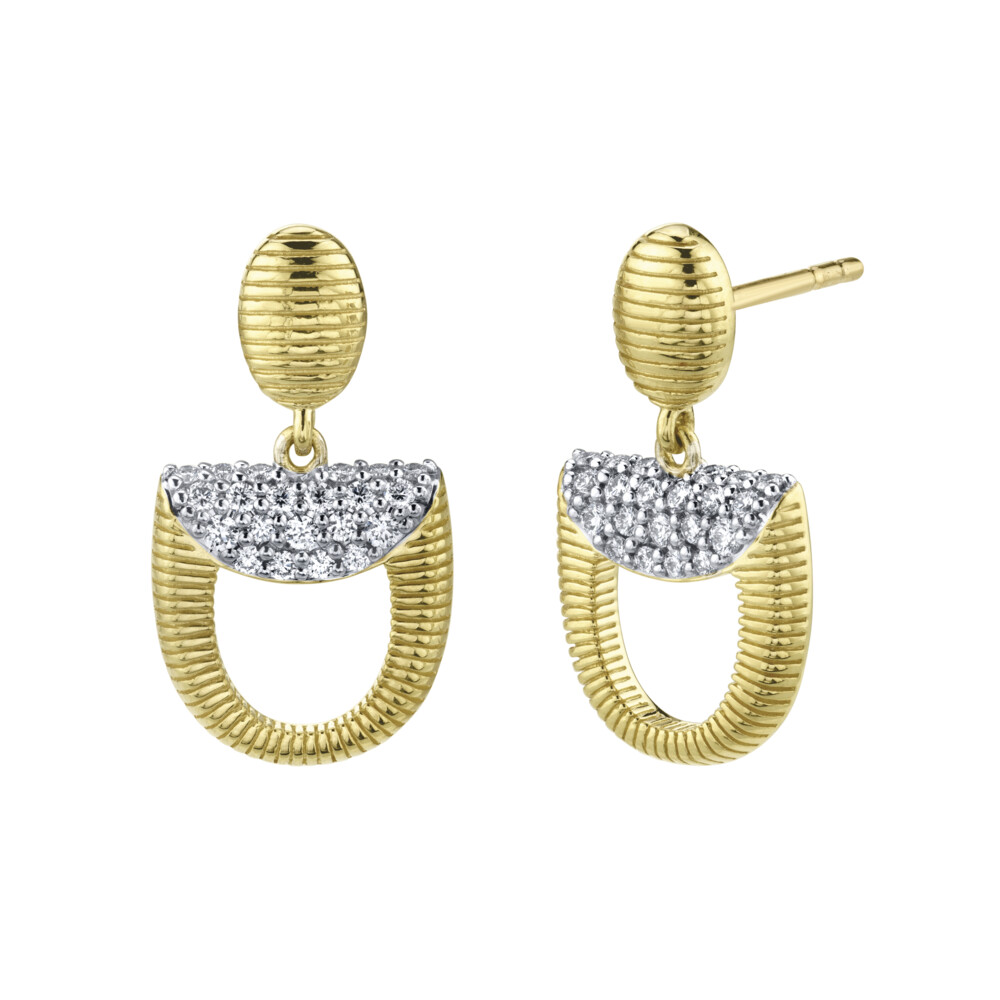 Pave Diamond Dainty Horse Bit Drop Earrings