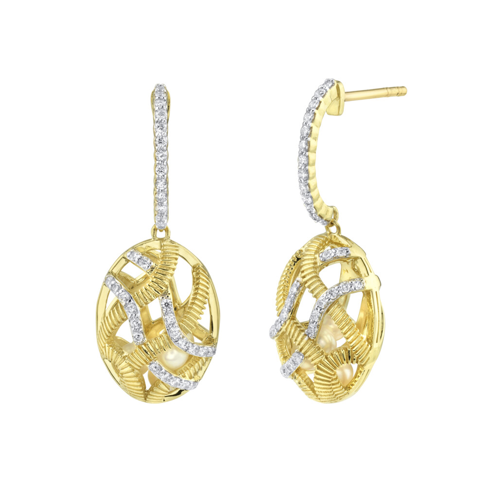 Diamond Cage Small Drop Earrings Filled With Seed Pearls