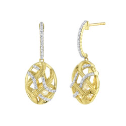 Closeup photo of Diamond Cage Small Drop Earrings Filled With Seed Pearls