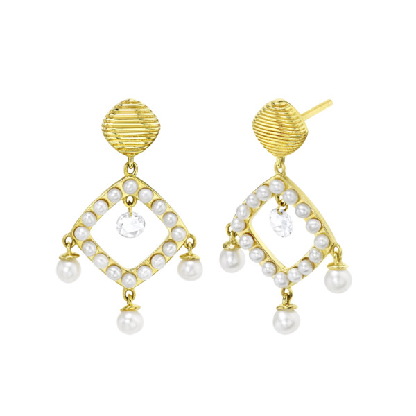 Closeup photo of Open Seed Pearl Drop Earrings With Dangling Rosecut DIamonds