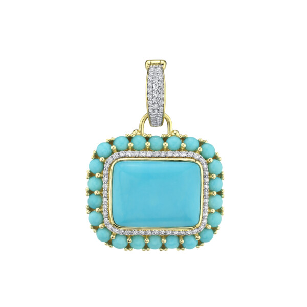 Closeup photo of Turquoise Pendant With Pave Diamonds