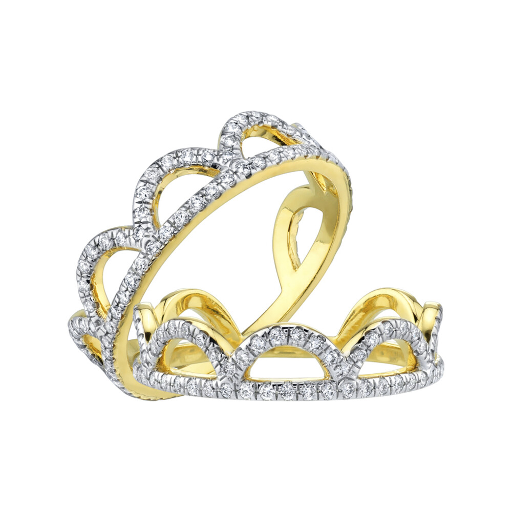 Pave Diamond Open Scalloped Guard Rings