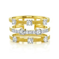 Closeup photo of  Rosecut Diamond Triple Row Ring