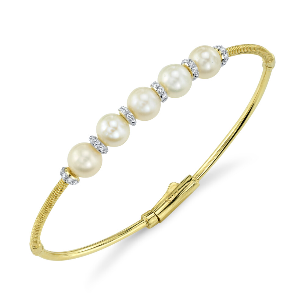Image 2 for Pearl Station Bangle With Diamonds