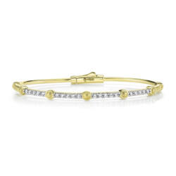 Closeup photo of Pave Diamond Skinny Bangle With Strie Stations