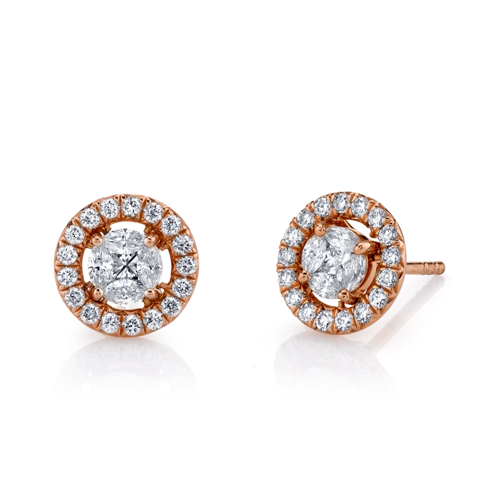 Image 2 for Marquis Diamond Stud Earrings With Removable Diamond  Halo Jacket