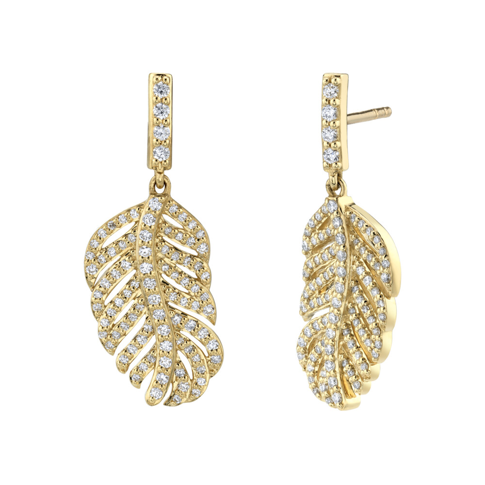 Pave Diamond Small Feather Drop Earrings