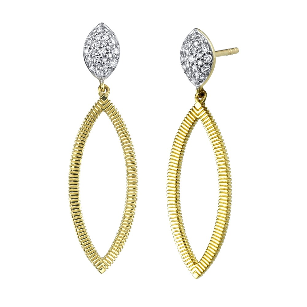Strie Marquise Drop Earrings With Pave Diamonds