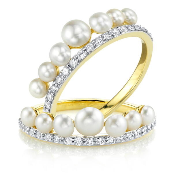 Closeup photo of Seed Pearl And Pave Diamond Guard Rings
