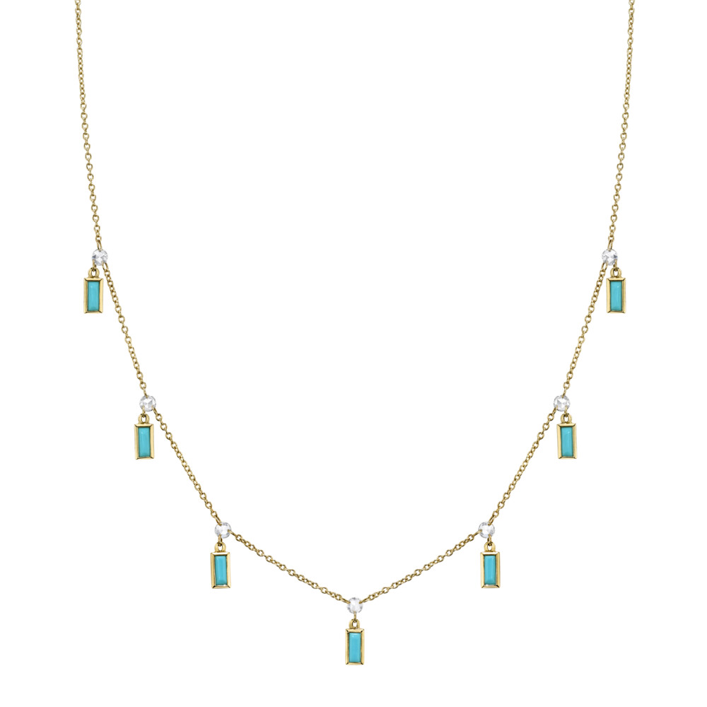 Rosecut Diamond Chain With Hanging Turquoise Baguettes