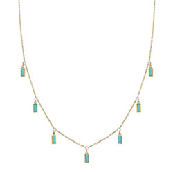 Closeup photo of Rosecut Diamond Chain With Hanging Turquoise Baguettes