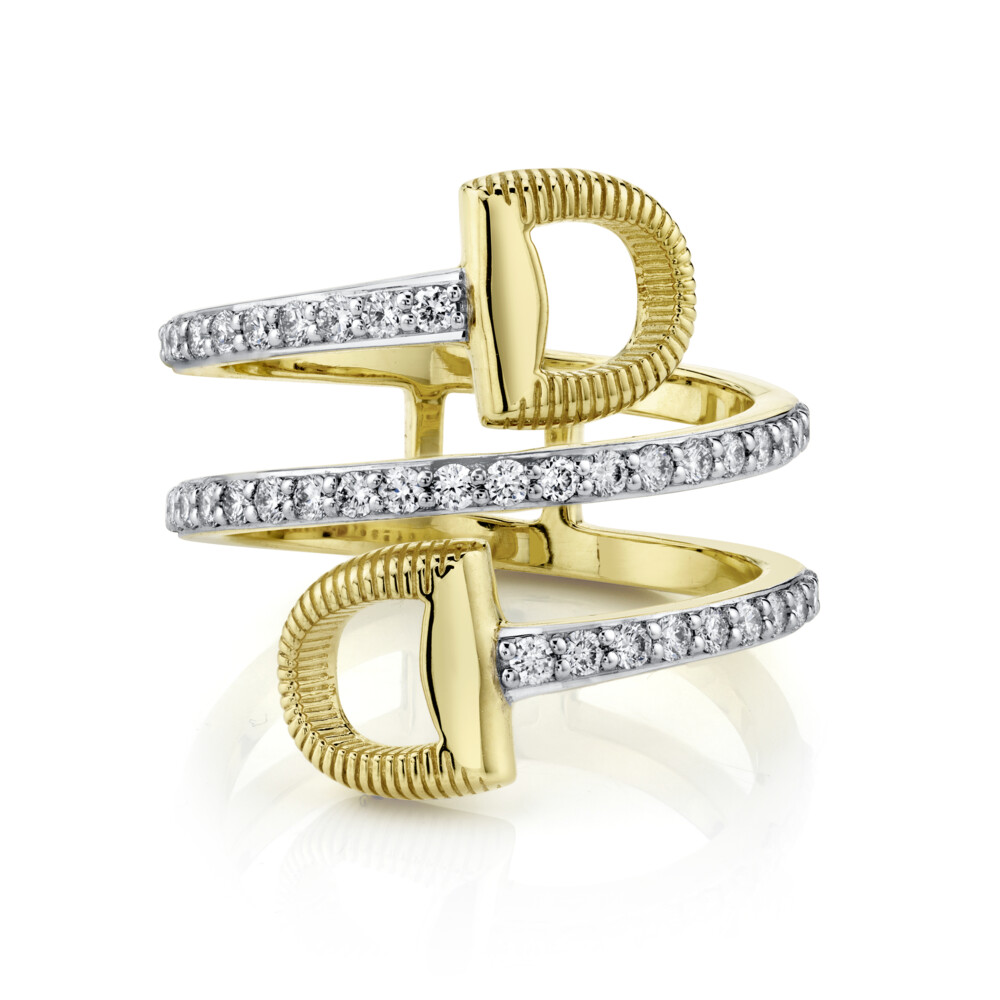 Pave Diamond Wrap Around Double Horse Bit Ring