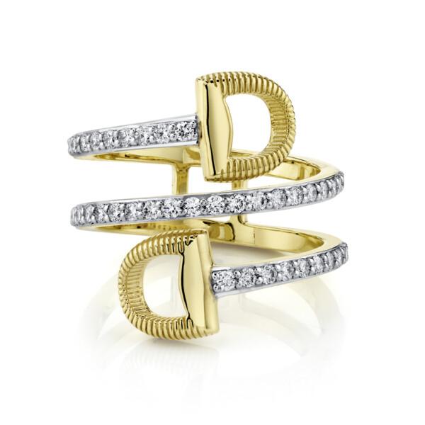 Closeup photo of Pave Diamond Wrap Around Double Horse Bit Ring