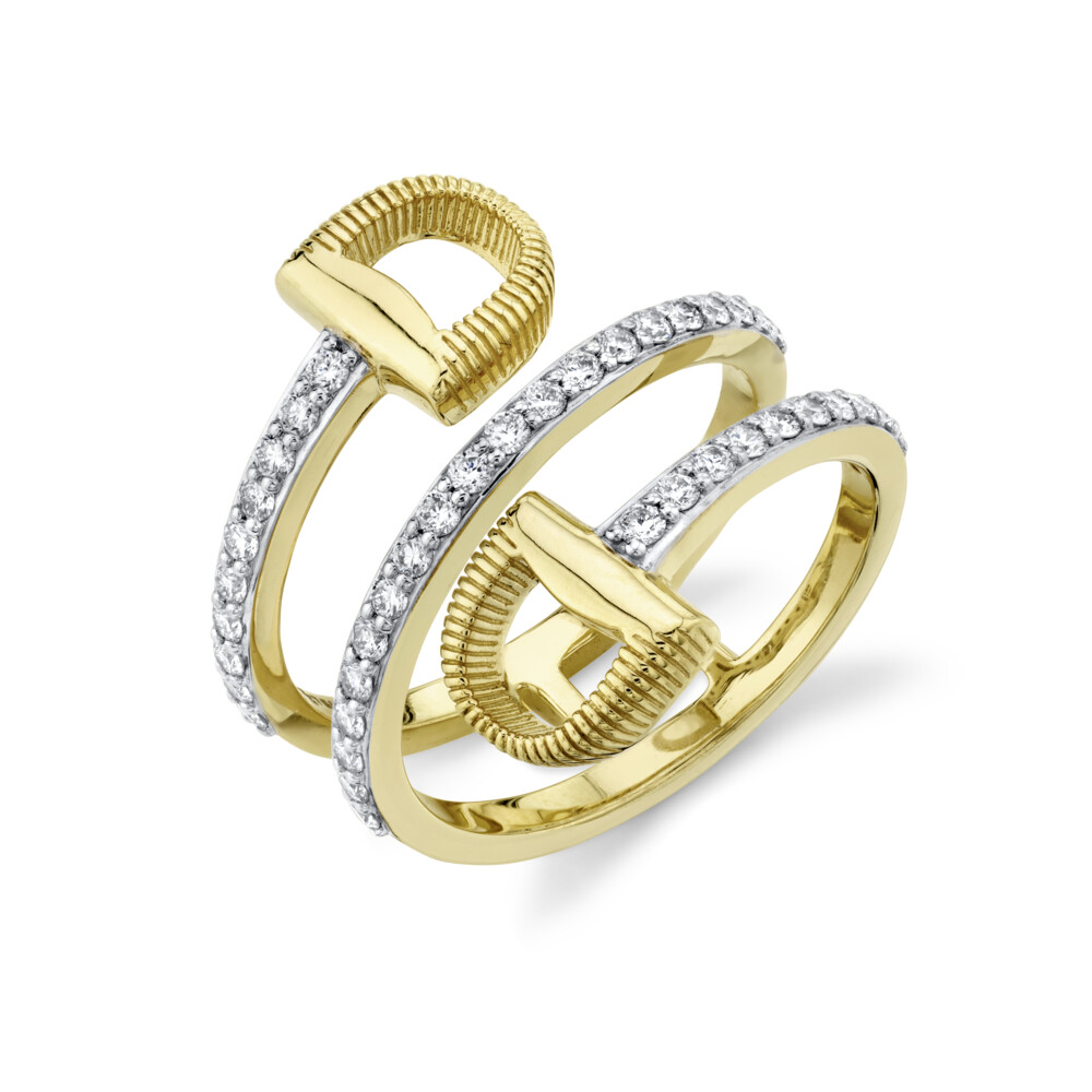 Image 2 for Pave Diamond Wrap Around Double Horse Bit Ring