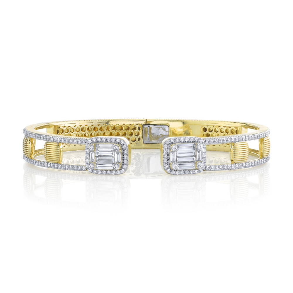 Strie And White Diamond Baguette Illusion Open Front Cuff