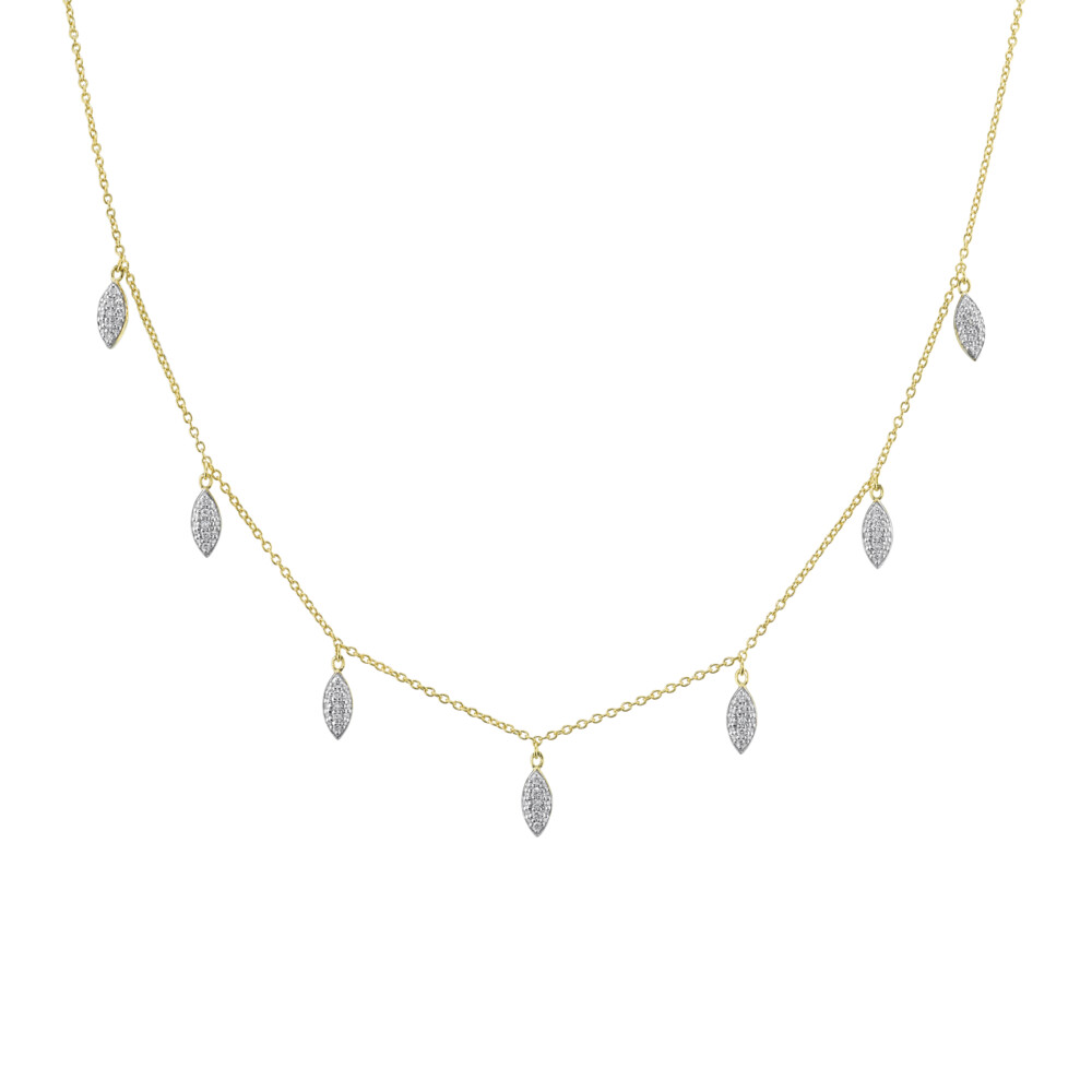 Pave Diamond Marquise Dainty Necklace