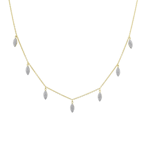 Closeup photo of Pave Diamond Marquise Dainty Necklace