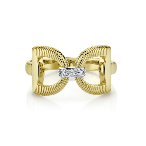 Closeup photo of  Horse Bit Ring With Diamonds