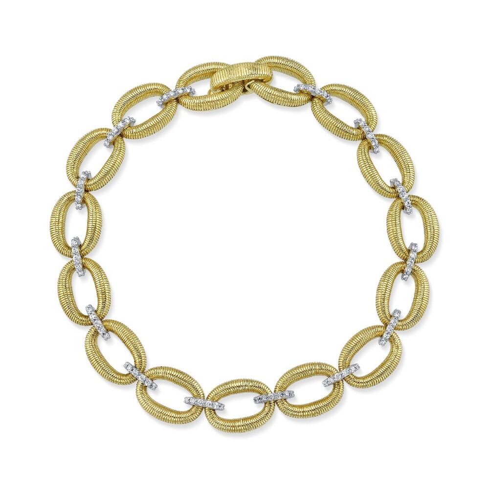 Strie Donut Link Bracelet With Diamonds