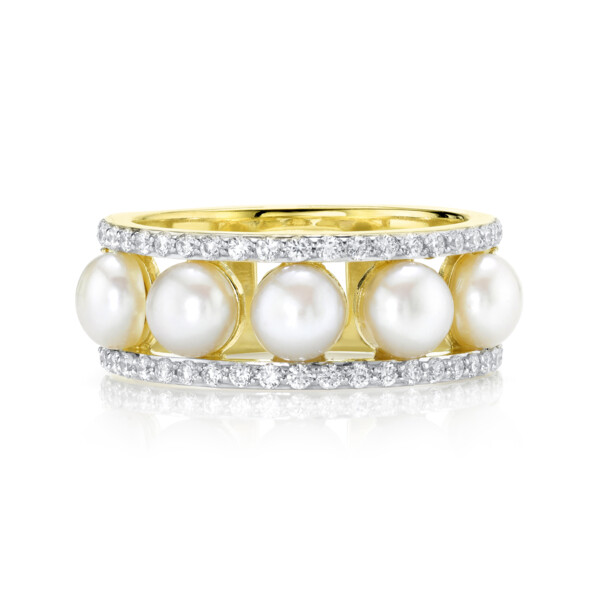 Closeup photo of Seed Pearl Band With Pave Diamond Edges