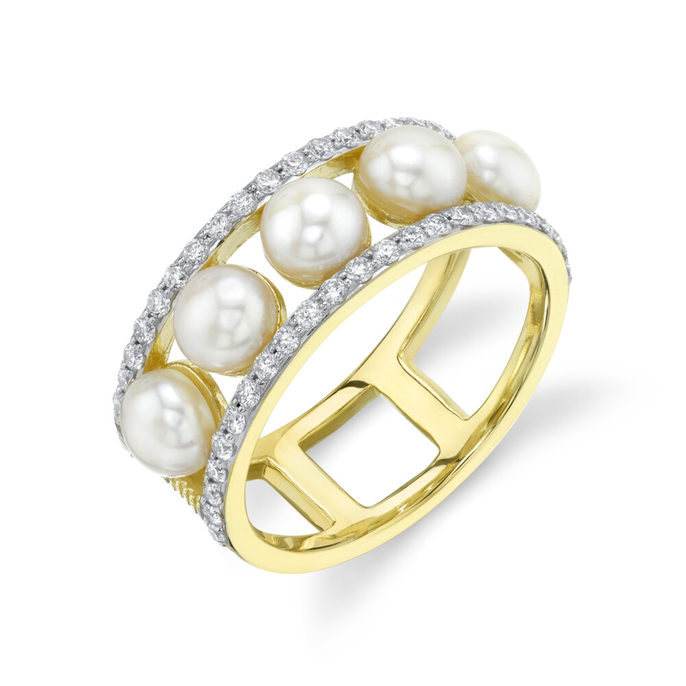 Image 2 for Seed Pearl Band With Pave Diamond Edges