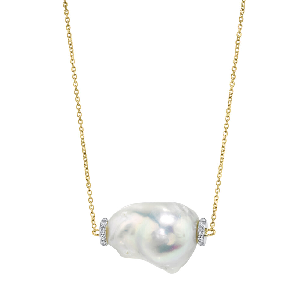Single Baroque Pearl Pendant With Pave Diamonds