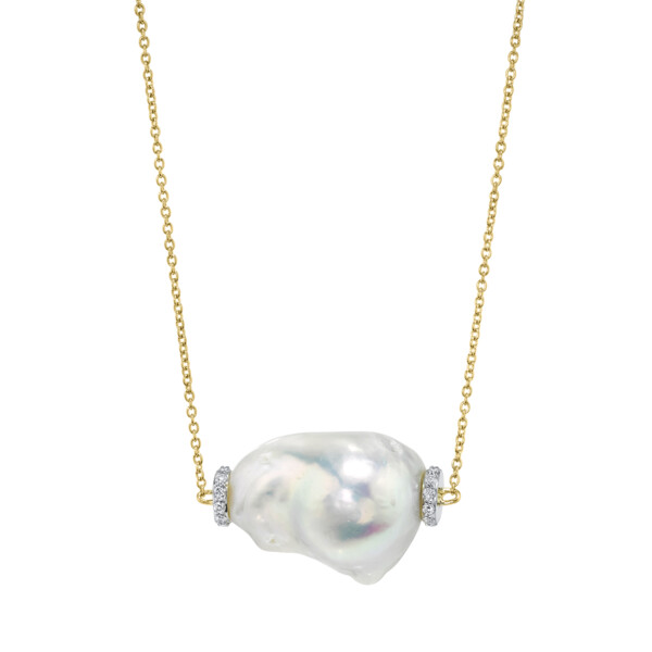 Closeup photo of Single Baroque Pearl Pendant With Pave Diamonds