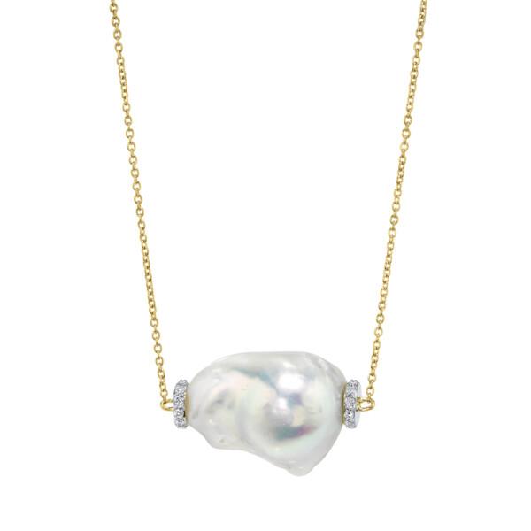 Closeup photo of Single Baroque Pearl Pendant With Pave Diamonds