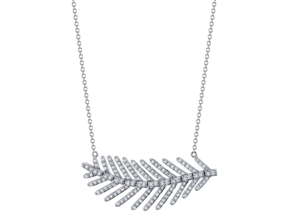 Image 2 for Pave Diamond Medium Feather Pendant