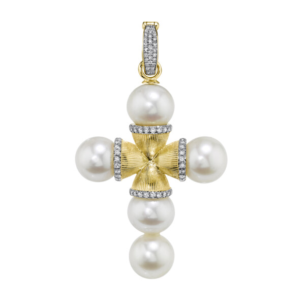 Closeup photo of Large Pearl Cross Pendant With Pave Diamonds