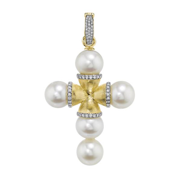 Closeup photo of Large Pearl Cross Pendant With Pave Diamonds